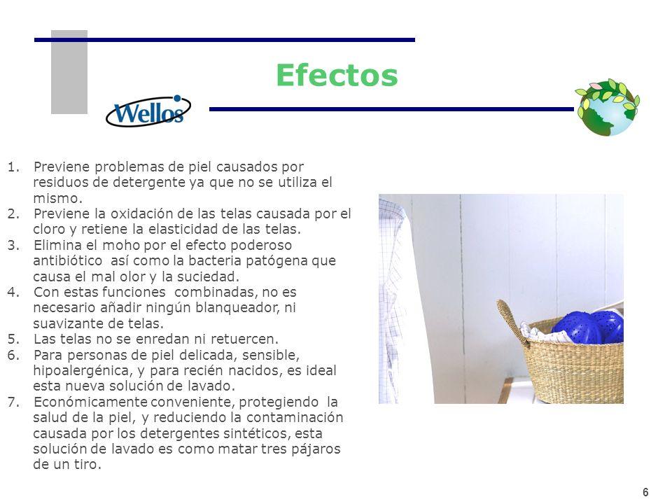 Efectos 1. Previene problemas de piel causados por residuos de detergente ya que no se utiliza el mismo.