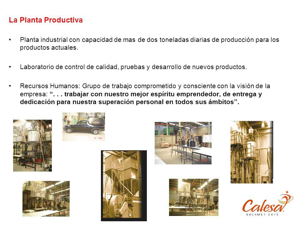 La Planta Productiva Planta industrial con capacidad de mas de dos toneladas diarias de producción para los productos actuales.
