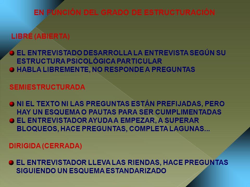 EN FUNCIÓN DEL GRADO DE ESTRUCTURACIÓN