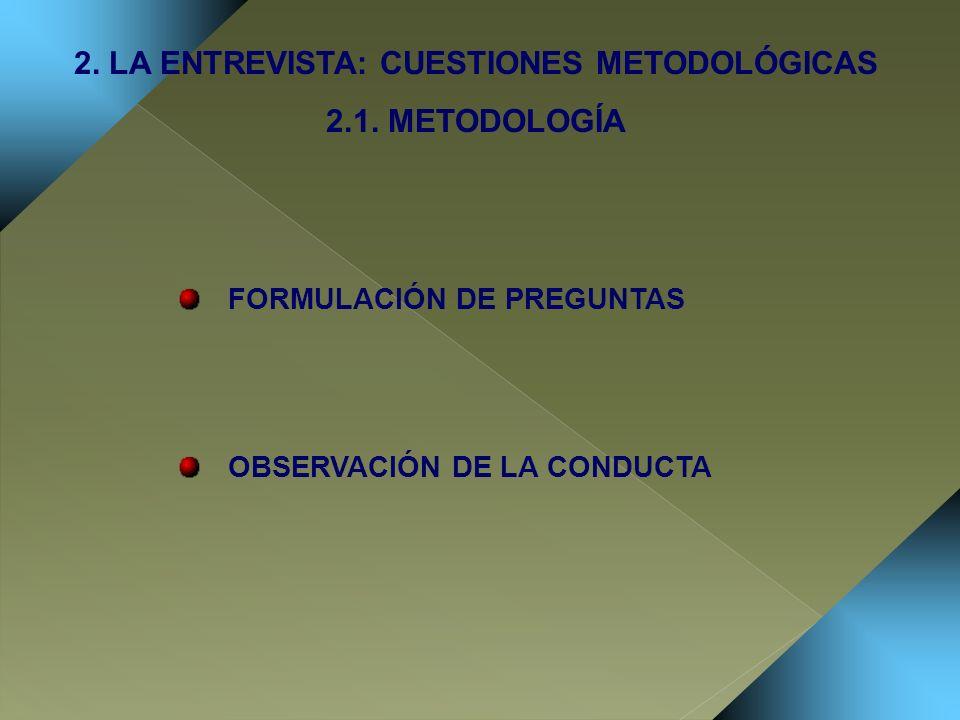2. LA ENTREVISTA: CUESTIONES METODOLÓGICAS