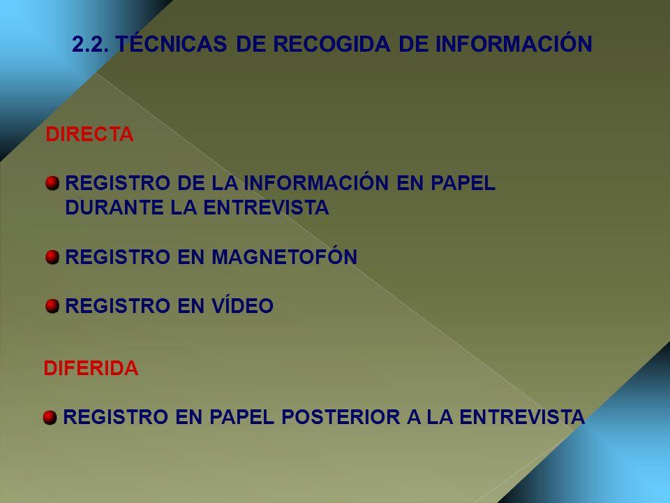 2.2. TÉCNICAS DE RECOGIDA DE INFORMACIÓN