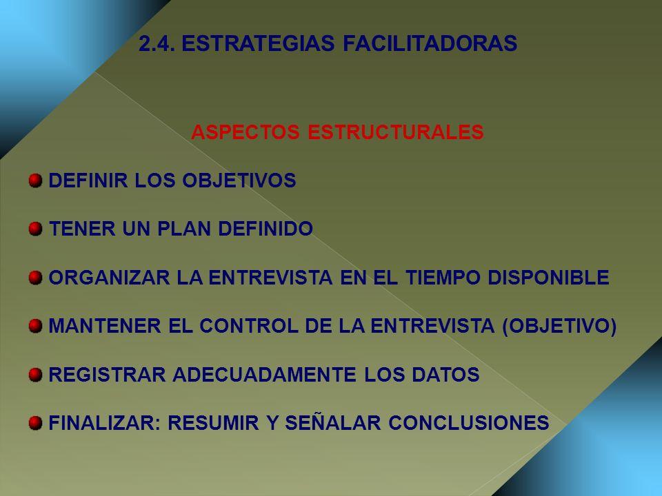 ASPECTOS ESTRUCTURALES 2.4. ESTRATEGIAS FACILITADORAS
