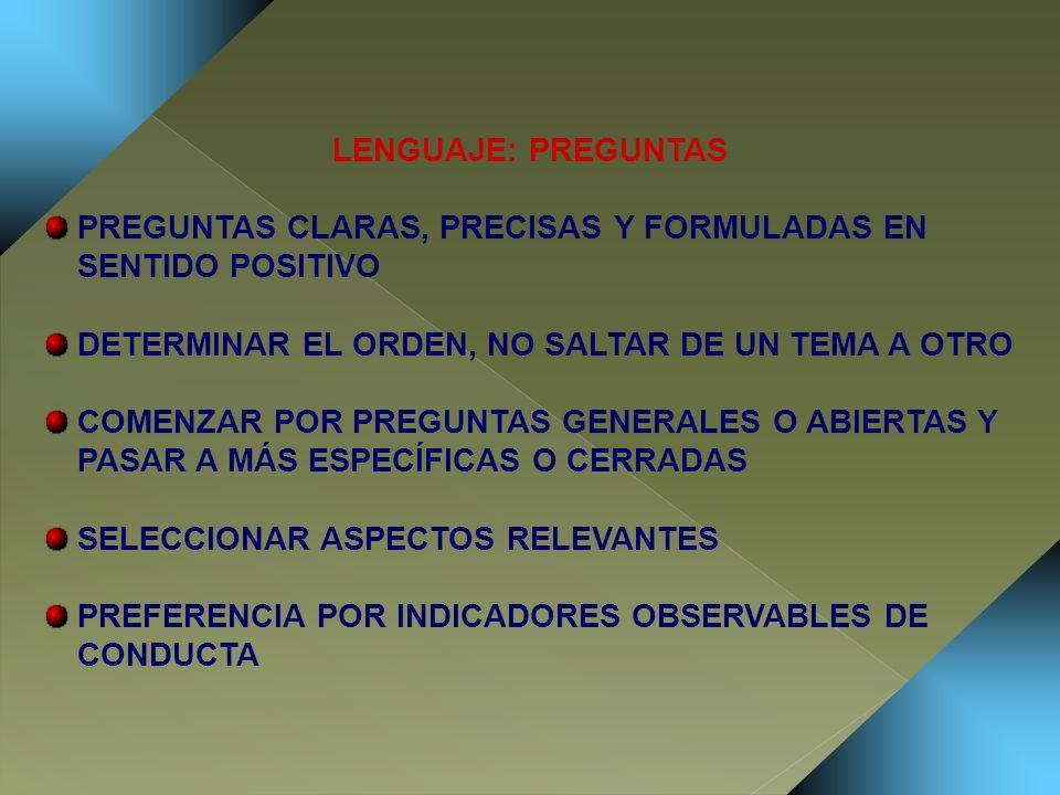 LENGUAJE: PREGUNTAS PREGUNTAS CLARAS, PRECISAS Y FORMULADAS EN SENTIDO POSITIVO. DETERMINAR EL ORDEN, NO SALTAR DE UN TEMA A OTRO.