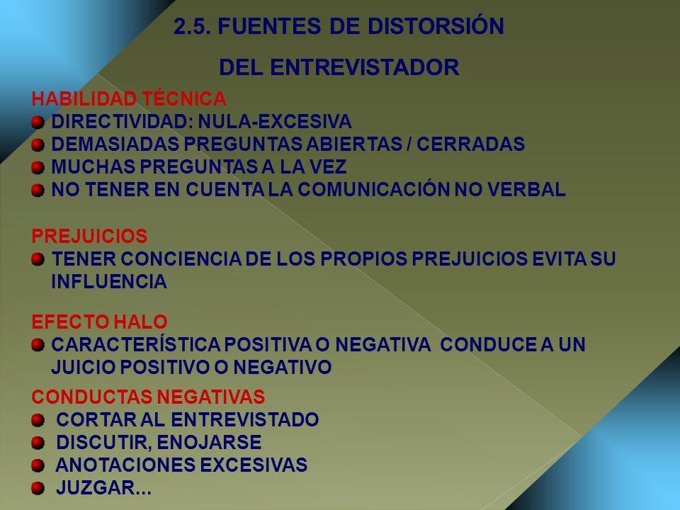 2.5. FUENTES DE DISTORSIÓN DEL ENTREVISTADOR