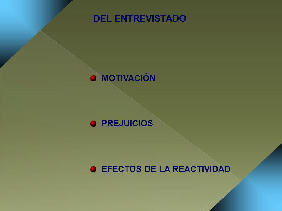 MOTIVACIÓN PREJUICIOS EFECTOS DE LA REACTIVIDAD DEL ENTREVISTADO