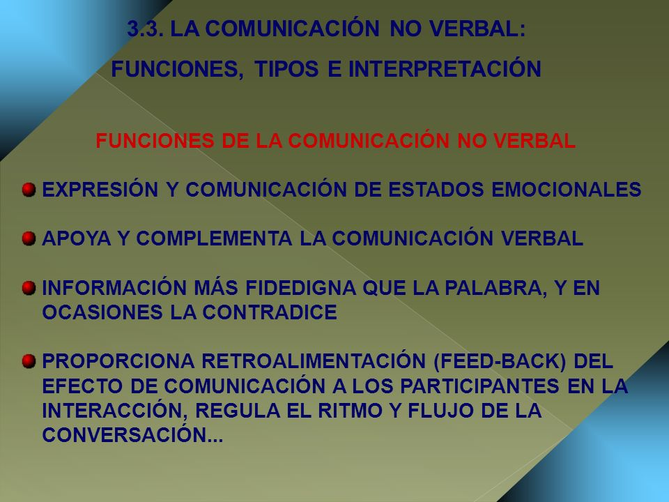 3.3. LA COMUNICACIÓN NO VERBAL: FUNCIONES, TIPOS E INTERPRETACIÓN