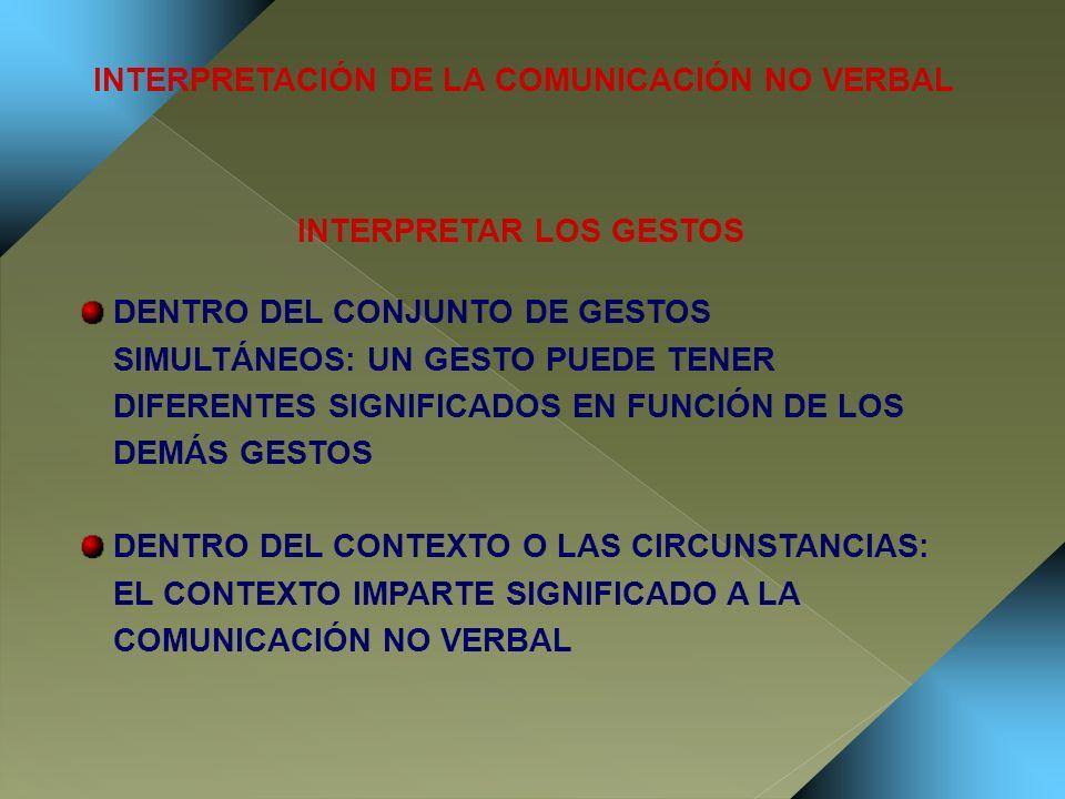 INTERPRETACIÓN DE LA COMUNICACIÓN NO VERBAL INTERPRETAR LOS GESTOS