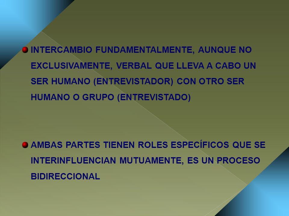 INTERCAMBIO FUNDAMENTALMENTE, AUNQUE NO EXCLUSIVAMENTE, VERBAL QUE LLEVA A CABO UN SER HUMANO (ENTREVISTADOR) CON OTRO SER HUMANO O GRUPO (ENTREVISTADO)