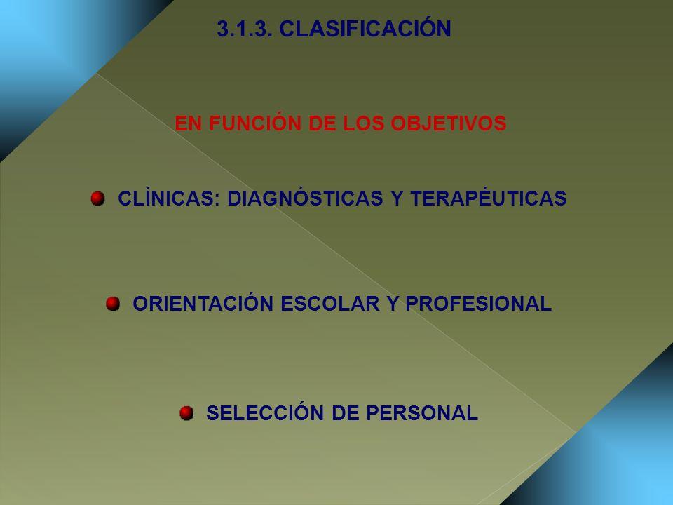 3.1.3. CLASIFICACIÓN EN FUNCIÓN DE LOS OBJETIVOS
