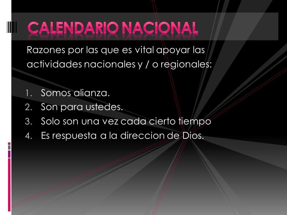 Calendario Nacional Razones por las que es vital apoyar las