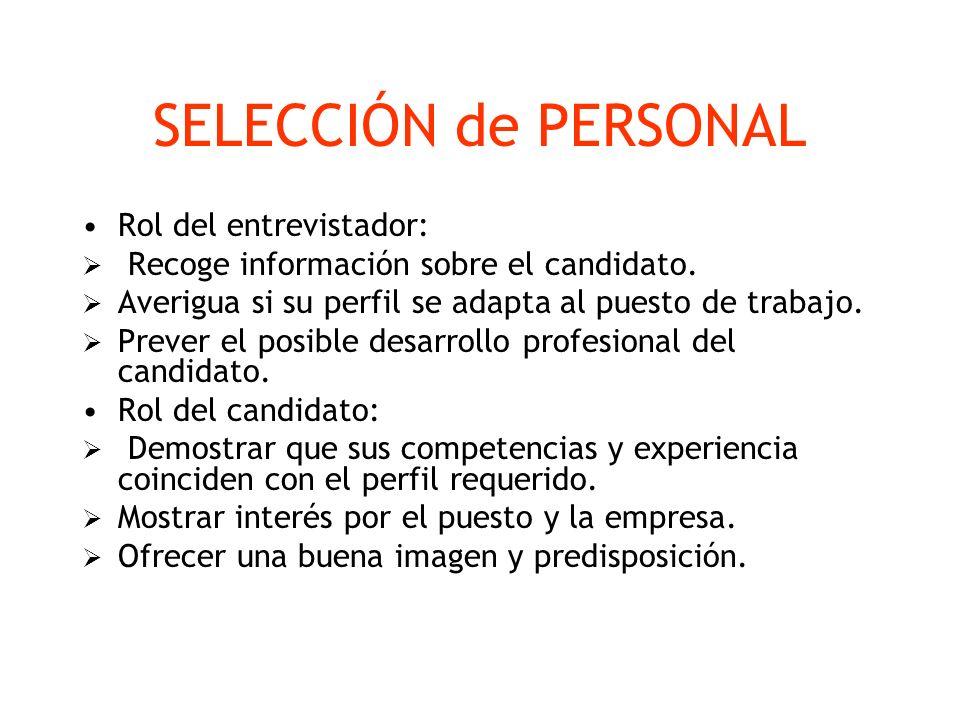 SELECCIÓN de PERSONAL Rol del entrevistador: