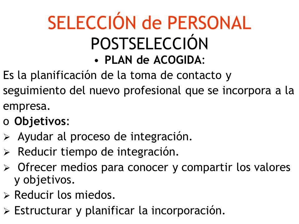 SELECCIÓN de PERSONAL POSTSELECCIÓN
