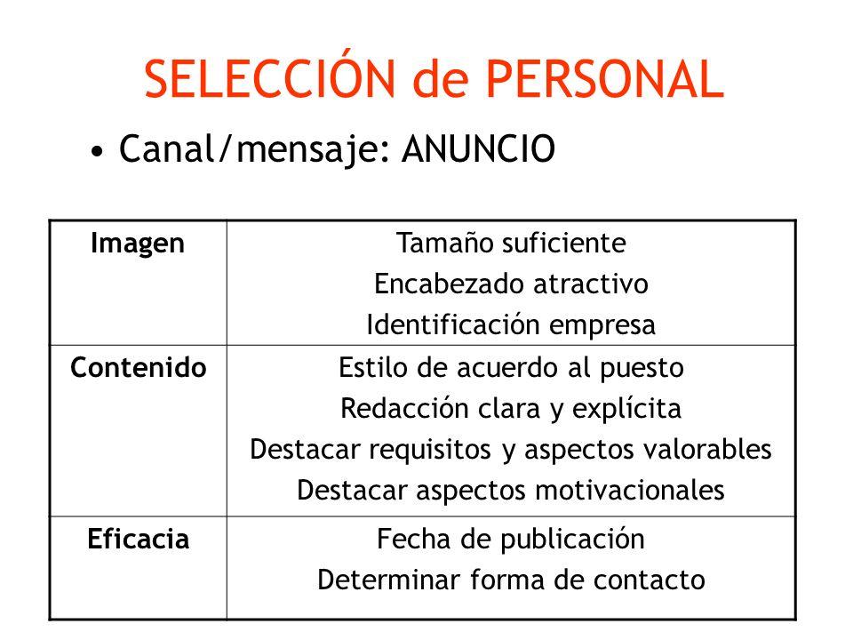 SELECCIÓN de PERSONAL Canal/mensaje: ANUNCIO Imagen Tamaño suficiente