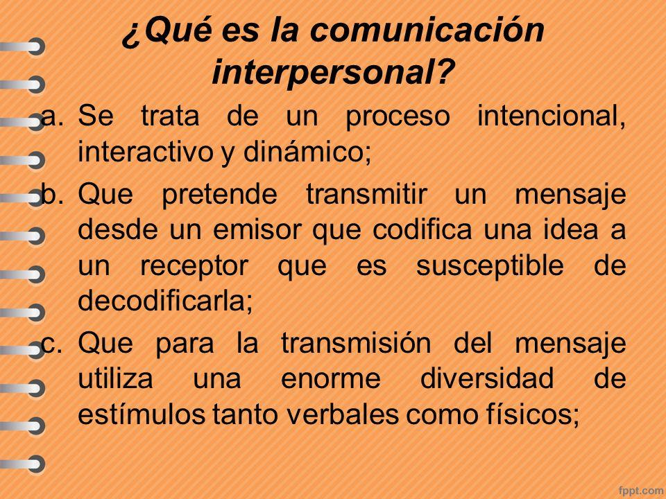 ¿Qué es la comunicación interpersonal