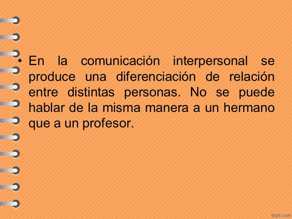 En la comunicación interpersonal se produce una diferenciación de relación entre distintas personas.