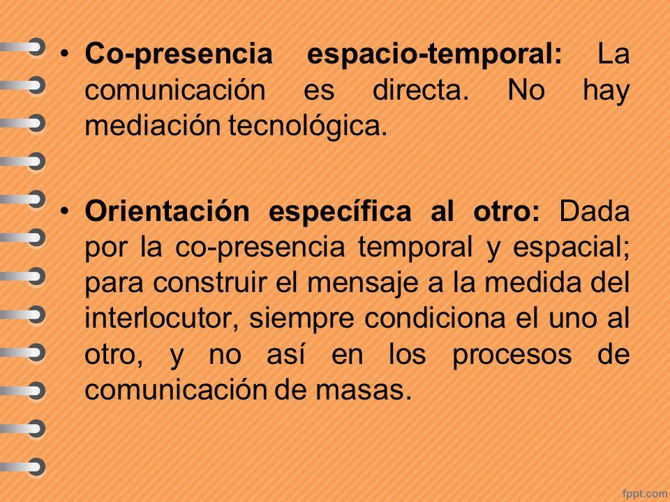 Co-presencia espacio-temporal: La comunicación es directa