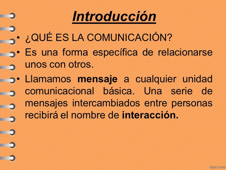 Introducción ¿QUÉ ES LA COMUNICACIÓN