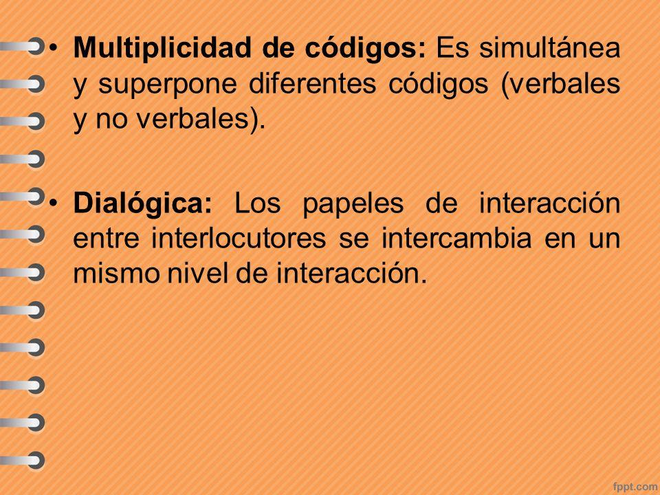 Multiplicidad de códigos: Es simultánea y superpone diferentes códigos (verbales y no verbales).