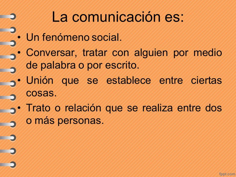 La comunicación es: Un fenómeno social.