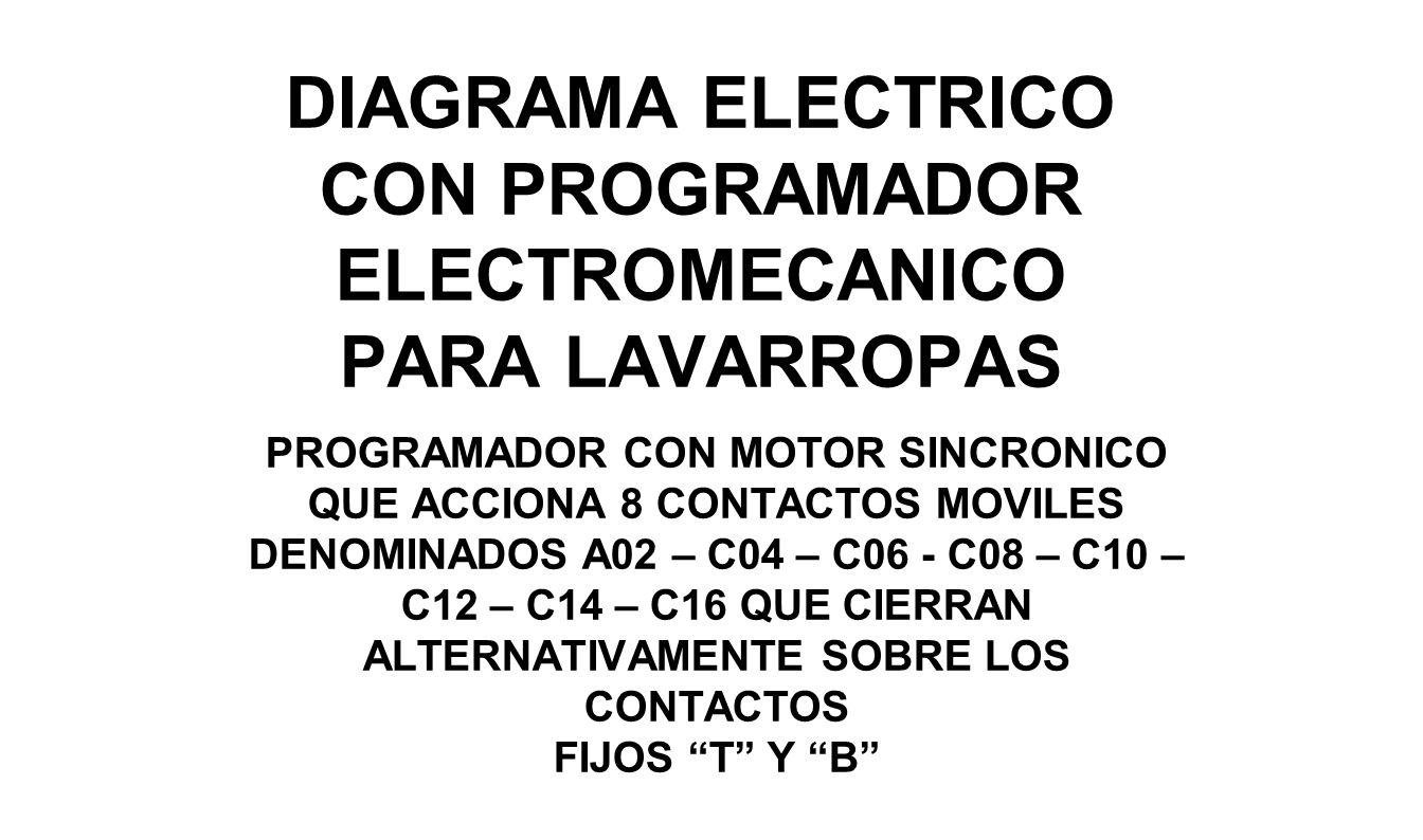 DIAGRAMA ELECTRICO CON PROGRAMADOR ELECTROMECANICO PARA LAVARROPAS