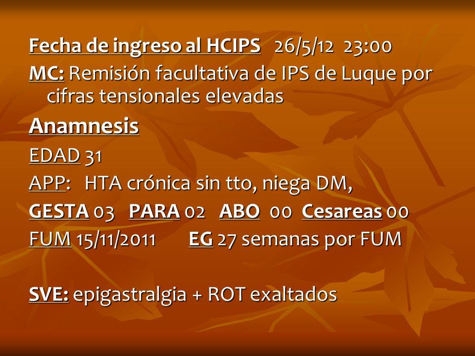 Anamnesis Fecha de ingreso al HCIPS 26/5/12 23:00