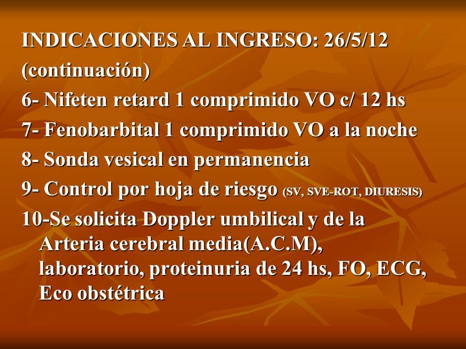 INDICACIONES AL INGRESO: 26/5/12