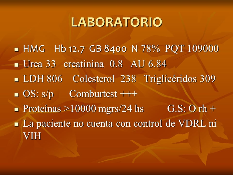 LABORATORIO HMG Hb 12.7 GB 8400 N 78% PQT 109000