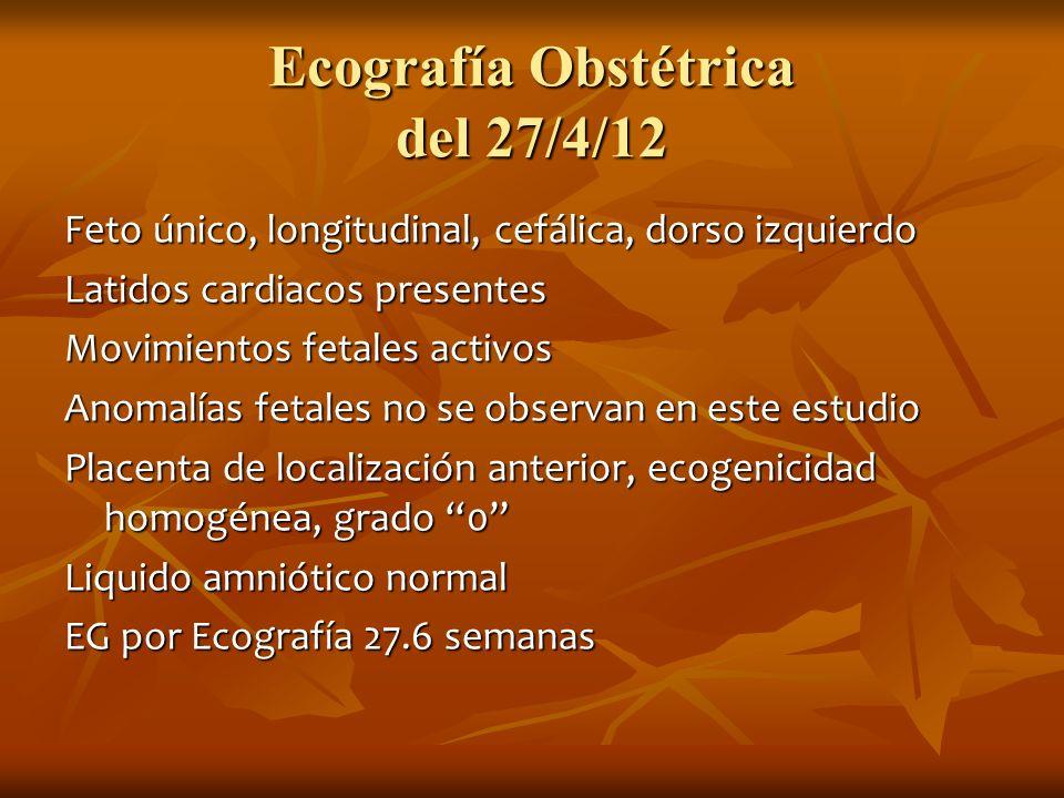 Ecografía Obstétrica del 27/4/12