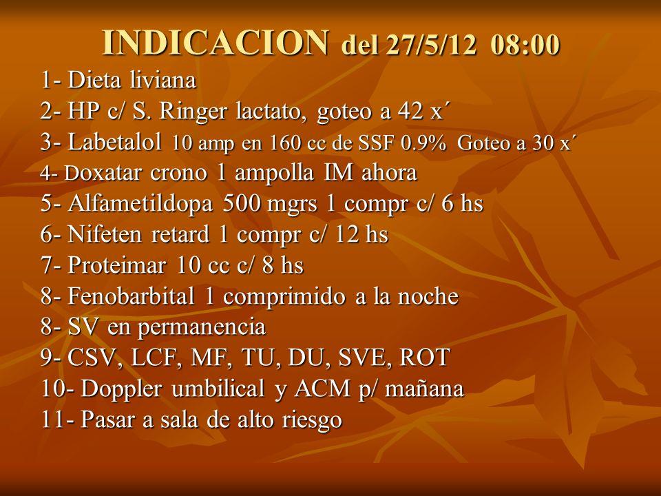 INDICACION del 27/5/12 08:00 1- Dieta liviana