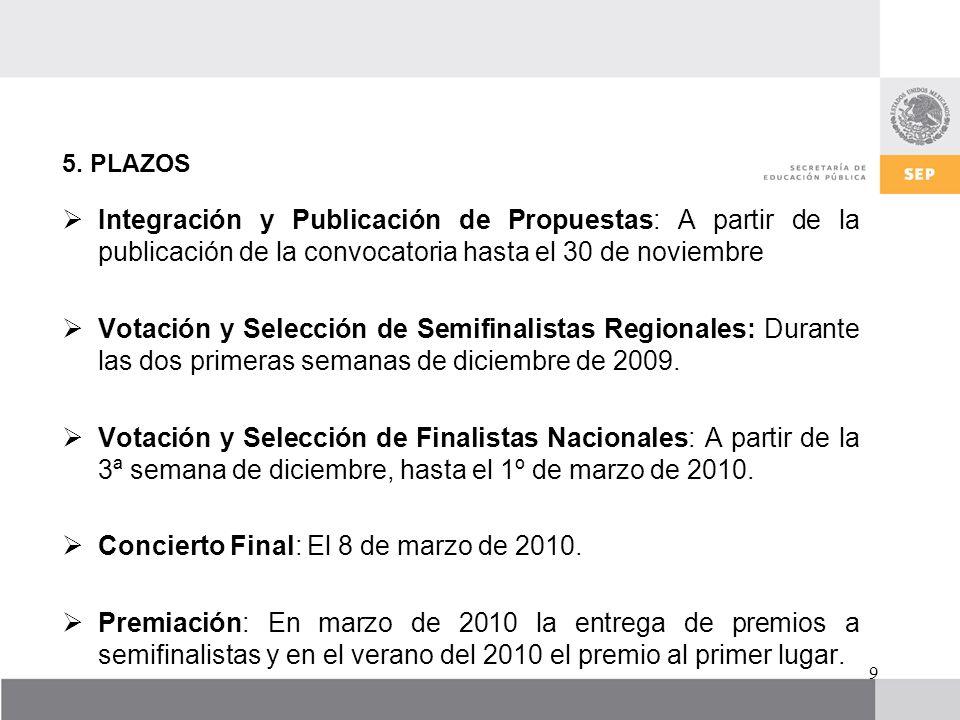Concierto Final: El 8 de marzo de 2010.