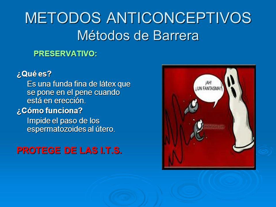 METODOS ANTICONCEPTIVOS Métodos de Barrera