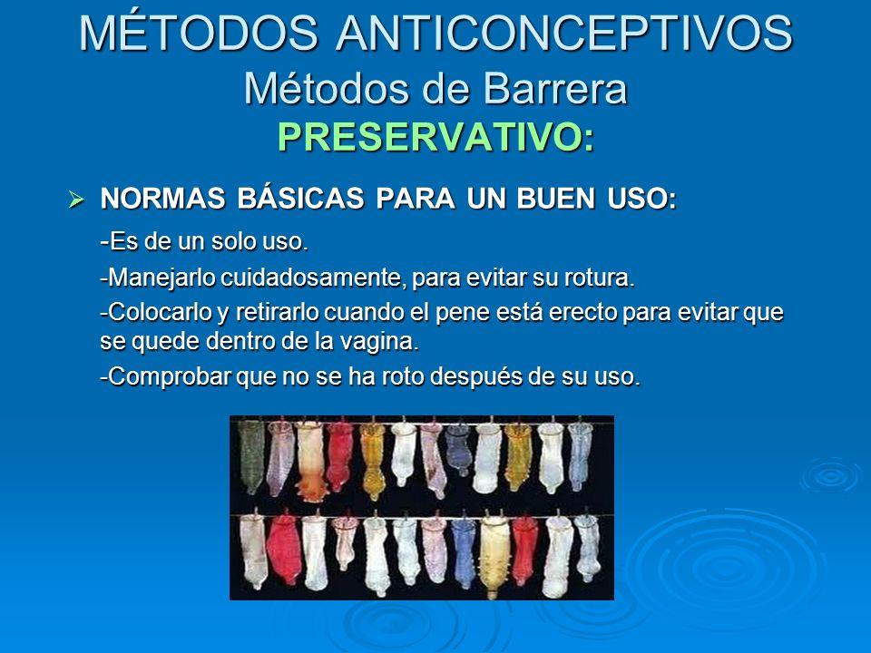 MÉTODOS ANTICONCEPTIVOS Métodos de Barrera PRESERVATIVO: