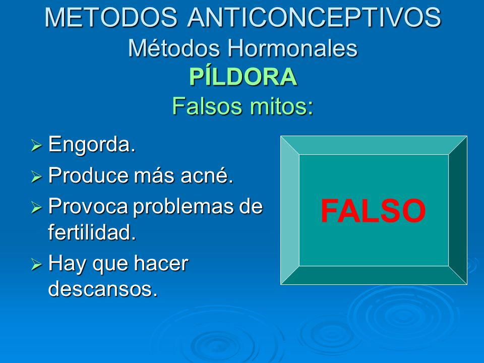 METODOS ANTICONCEPTIVOS Métodos Hormonales PÍLDORA Falsos mitos:
