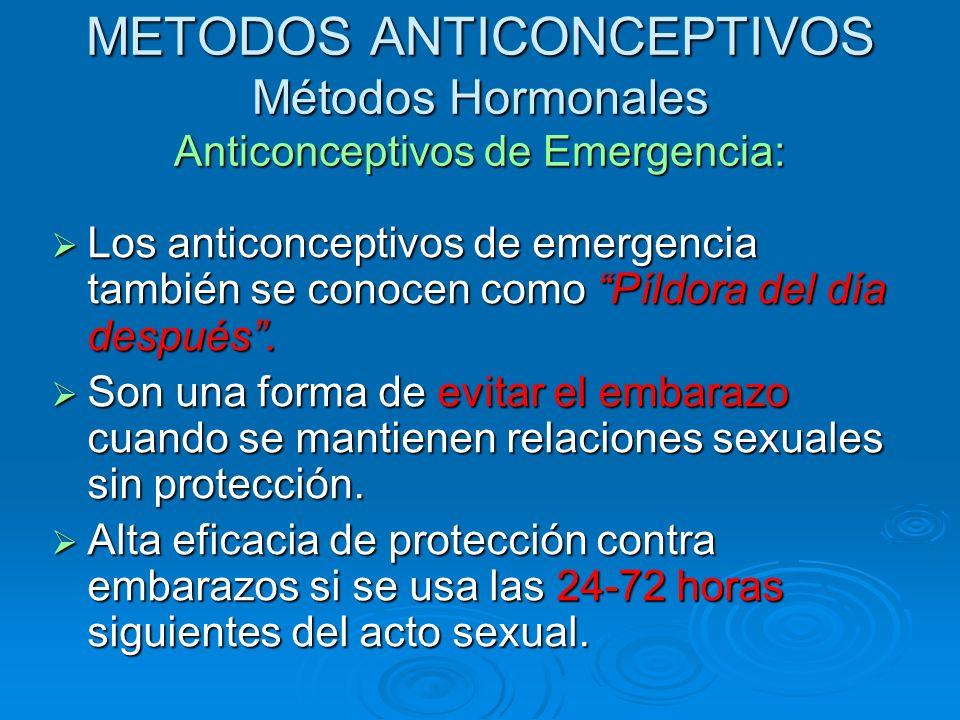 METODOS ANTICONCEPTIVOS Métodos Hormonales Anticonceptivos de Emergencia: