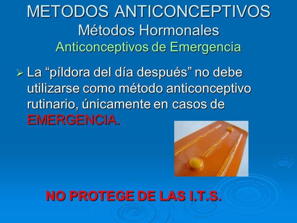 METODOS ANTICONCEPTIVOS Métodos Hormonales Anticonceptivos de Emergencia