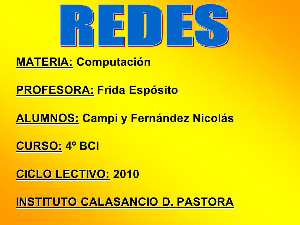 REDES MATERIA: Computación PROFESORA: Frida Espósito