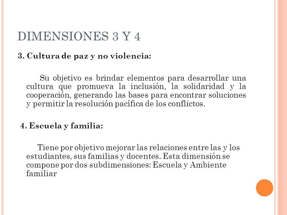 DIMENSIONES 3 Y 4 3. Cultura de paz y no violencia: