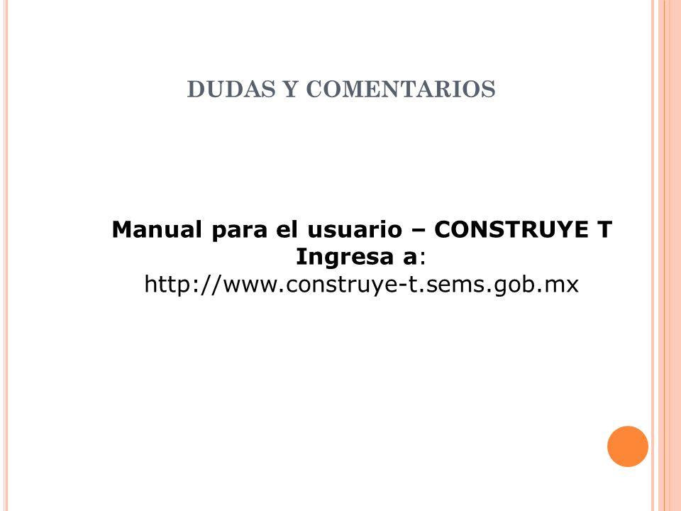 Manual para el usuario – CONSTRUYE T