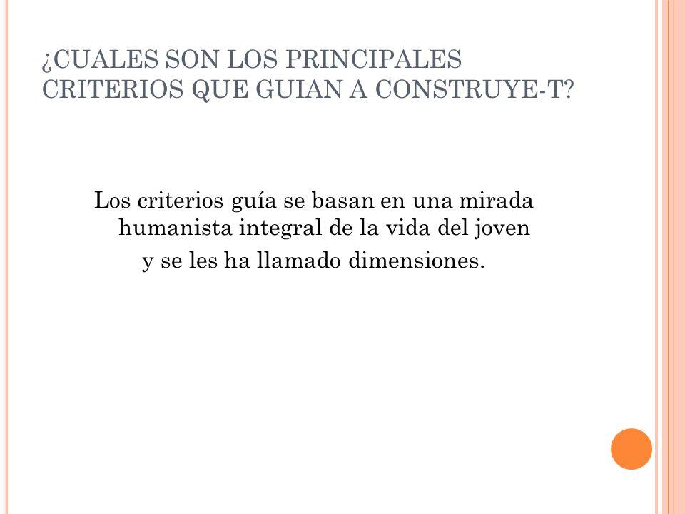¿CUALES SON LOS PRINCIPALES CRITERIOS QUE GUIAN A CONSTRUYE-T