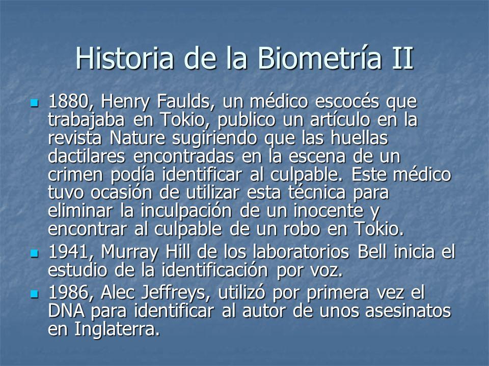 Historia de la Biometría II