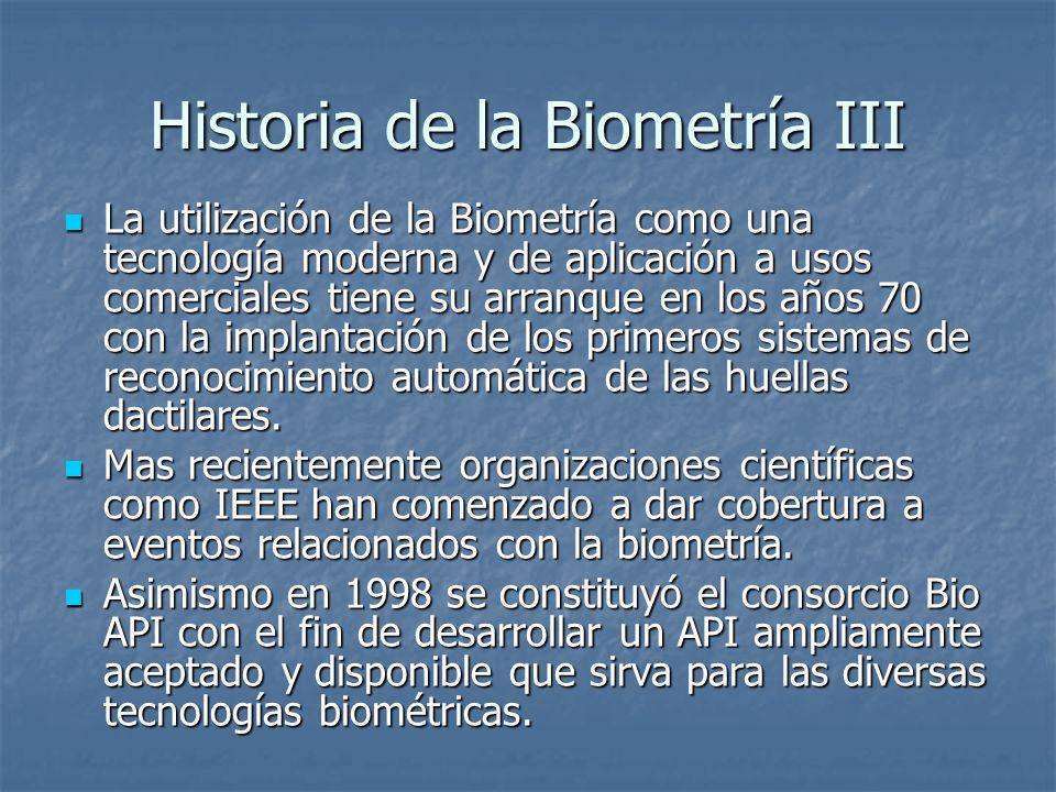 Historia de la Biometría III