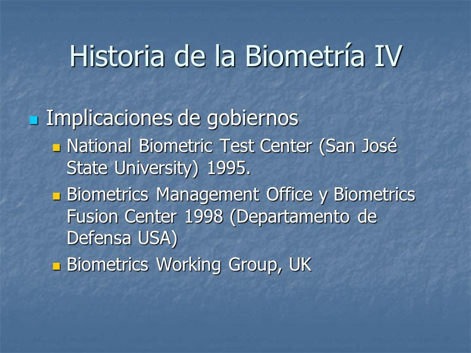 Historia de la Biometría IV