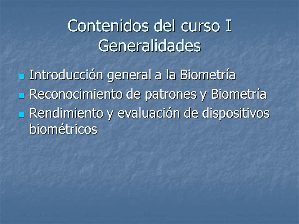 Contenidos del curso I Generalidades