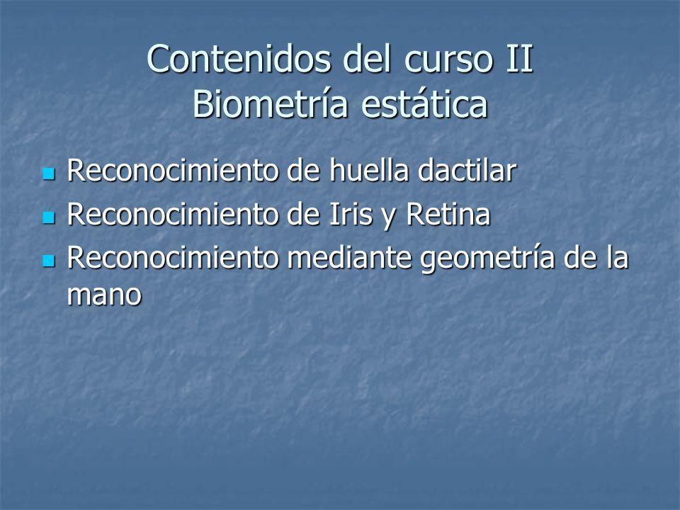 Contenidos del curso II Biometría estática