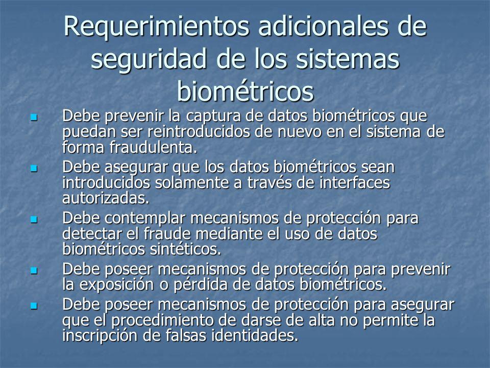 Requerimientos adicionales de seguridad de los sistemas biométricos
