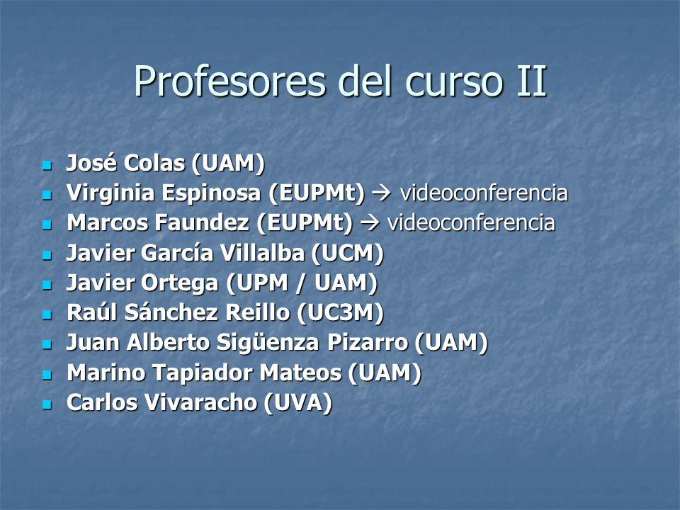 Profesores del curso II