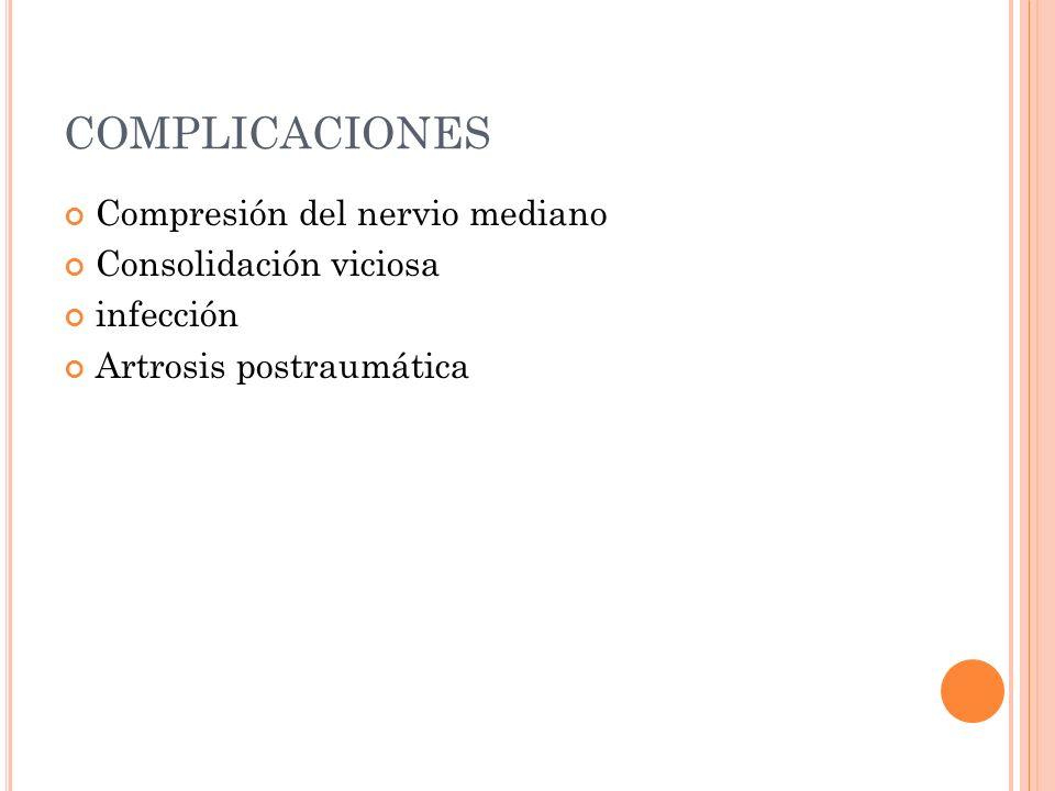 COMPLICACIONES Compresión del nervio mediano Consolidación viciosa
