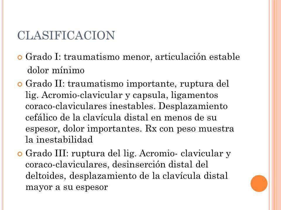 CLASIFICACION Grado I: traumatismo menor, articulación estable