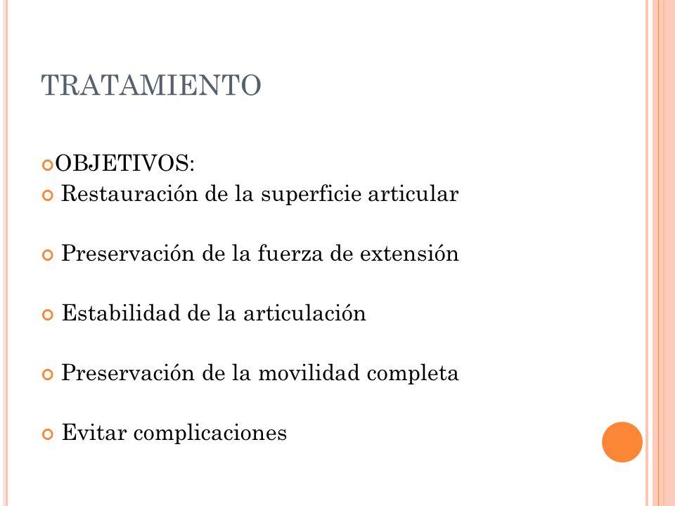 TRATAMIENTO OBJETIVOS: Restauración de la superficie articular