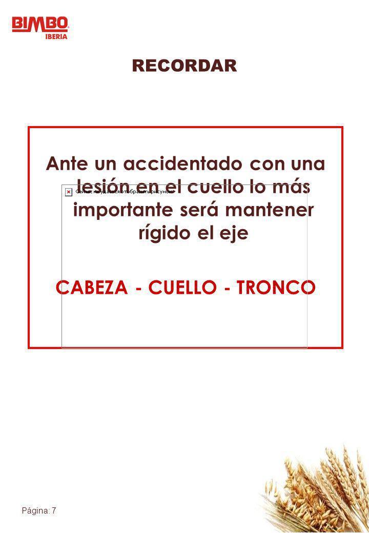RECORDAR Ante un accidentado con una lesión en el cuello lo más importante será mantener rígido el eje CABEZA - CUELLO - TRONCO